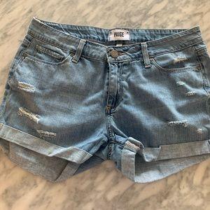 Paige Light Wash Denim Shorts - Size 28